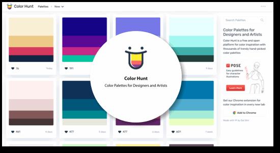השראה: פלטות צבעוניות טרנדיות: colorhunt